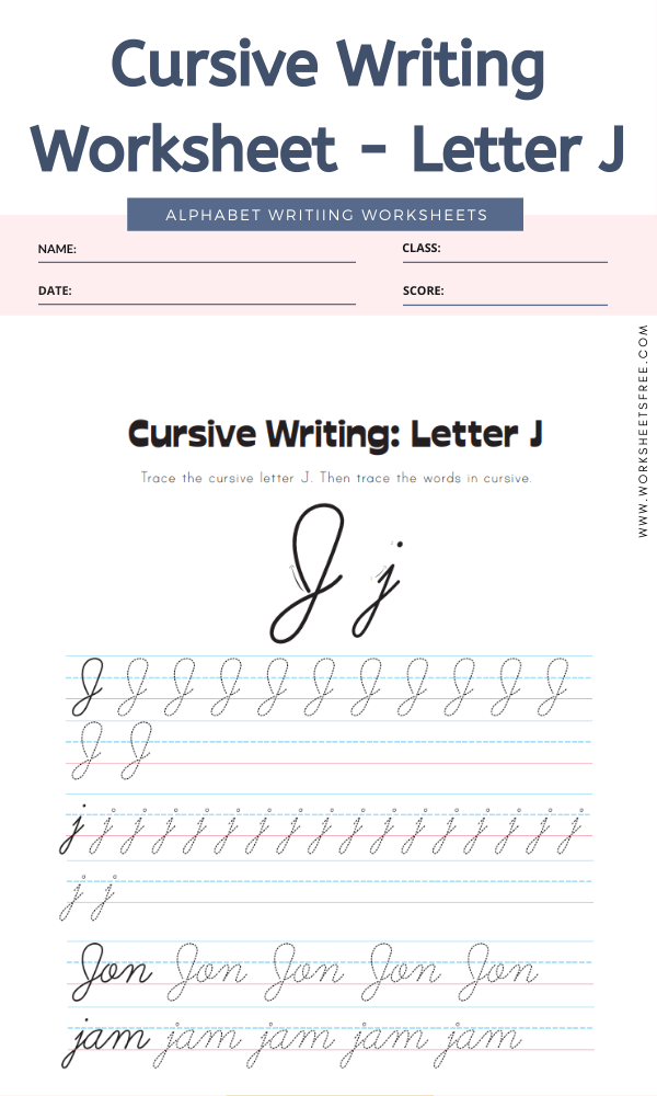 Cursive Writing Worksheet - Letter J Alphabet Worksheets