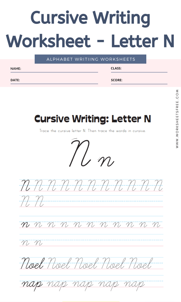 Cursive Writing Worksheet - Letter N Alphabet Worksheets