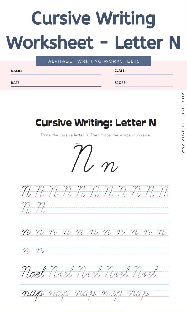 Cursive Writing Worksheet - Letter N Alphabet Worksheets