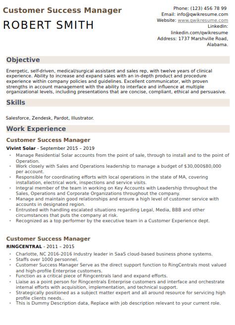 Customer Success Manager Resume 5