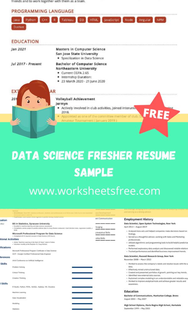 Data Science Fresher Resume Sample