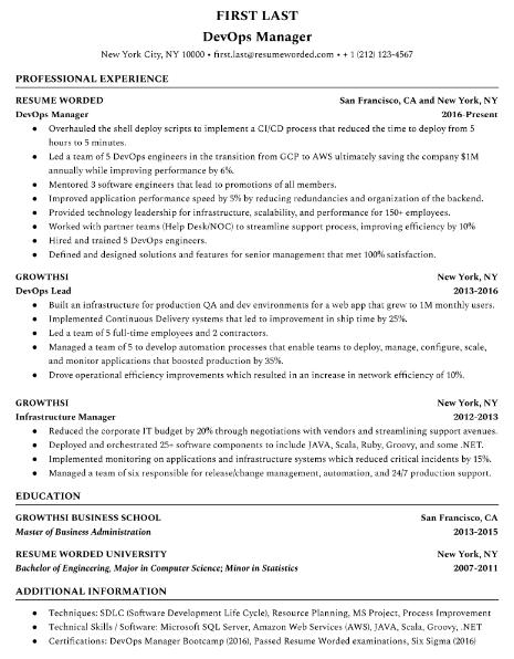 DevOps Engineer Resume Sample 3