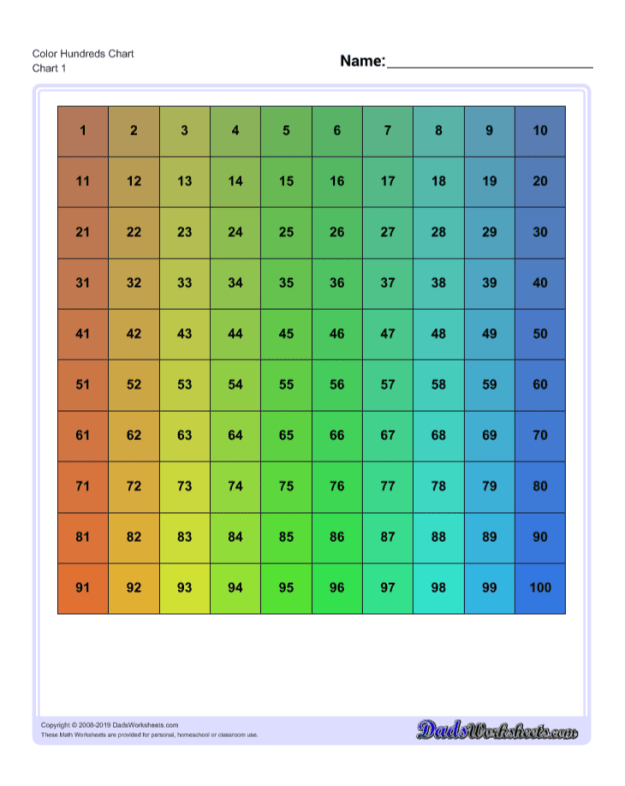 Download Color Hundreds Chart Worksheets