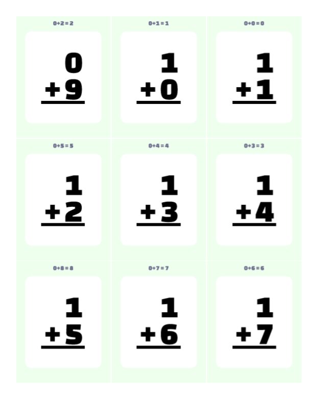 Download Printables Addition Flash Cards