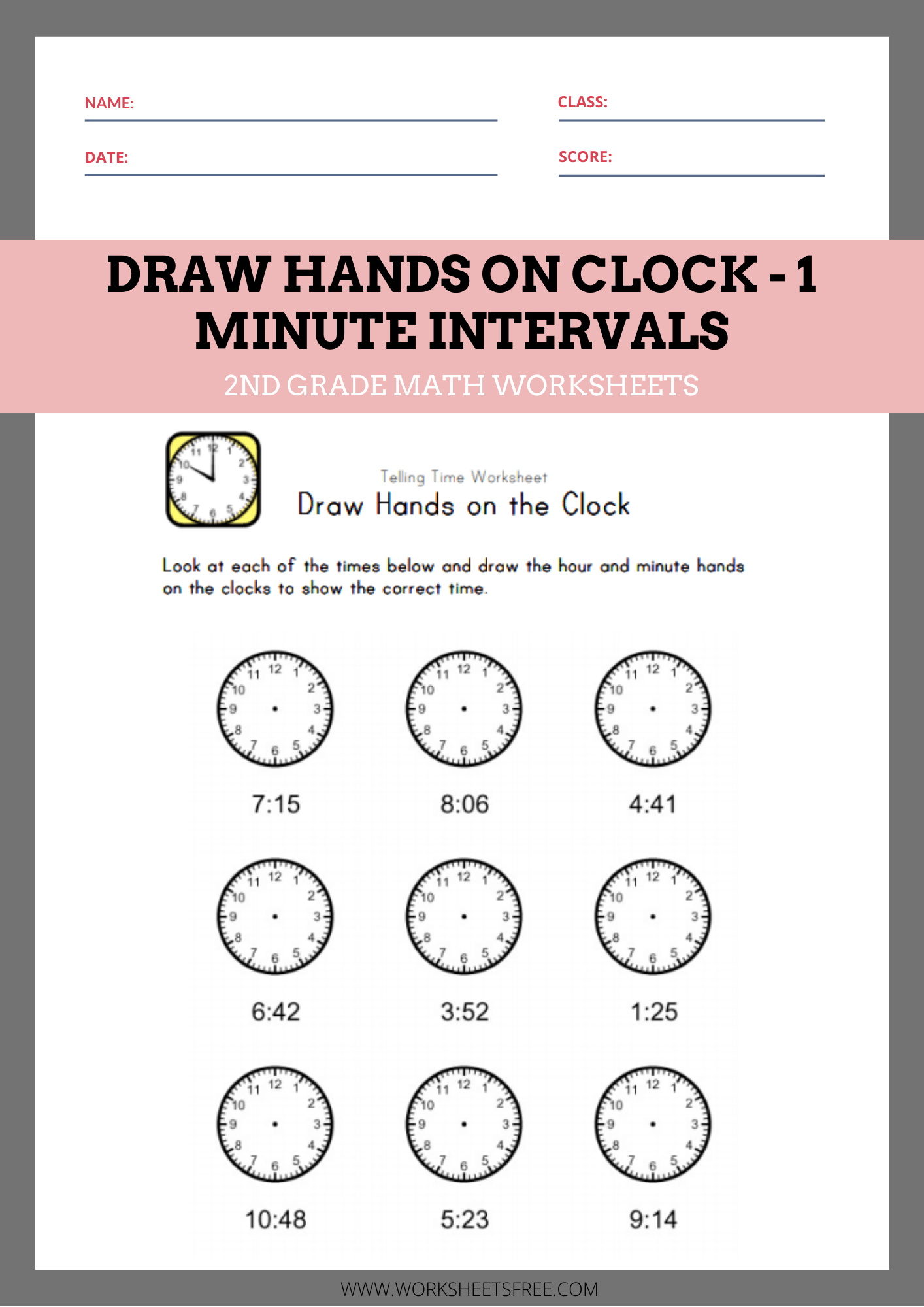 Draw Hands On Clock 1 Minute Intervals