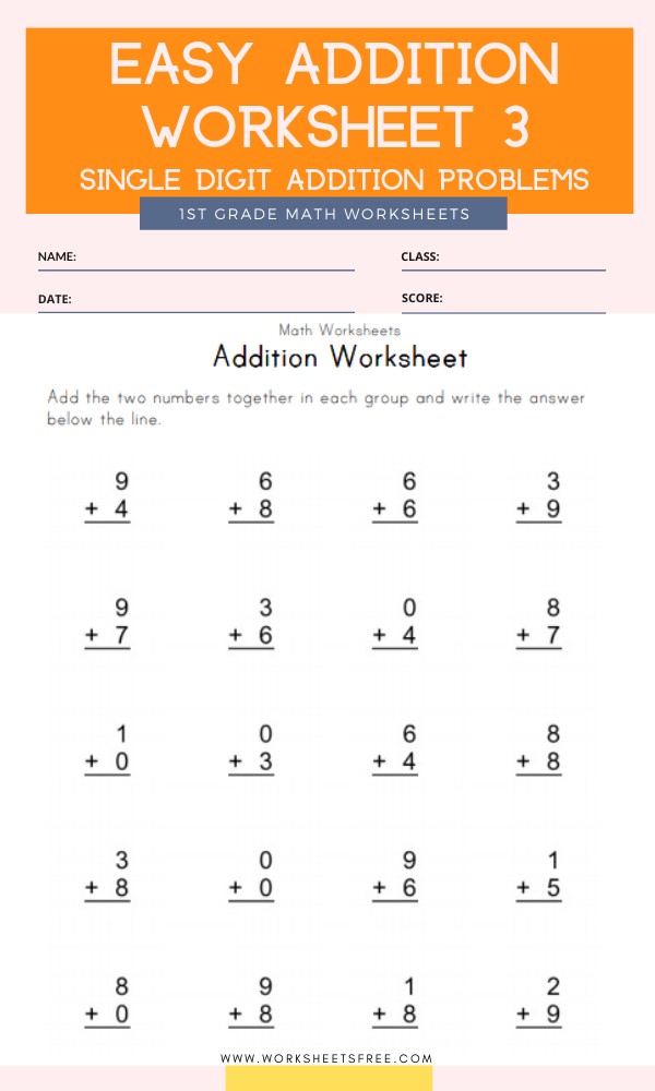 Easy Addition Worksheet 3 Grade 1 Single Digit Addition Problems