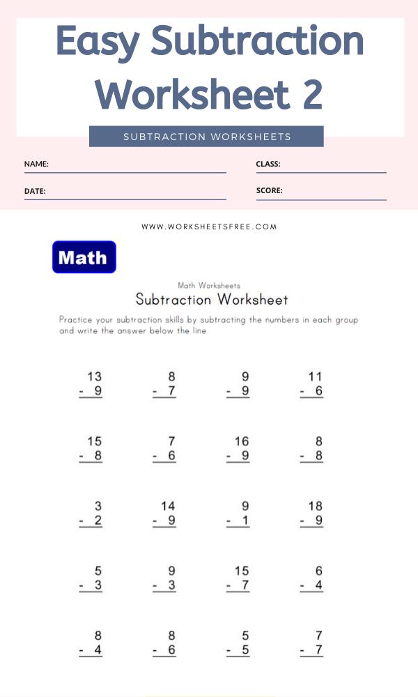 Easy Subtraction Worksheet 2 - Math Worksheets