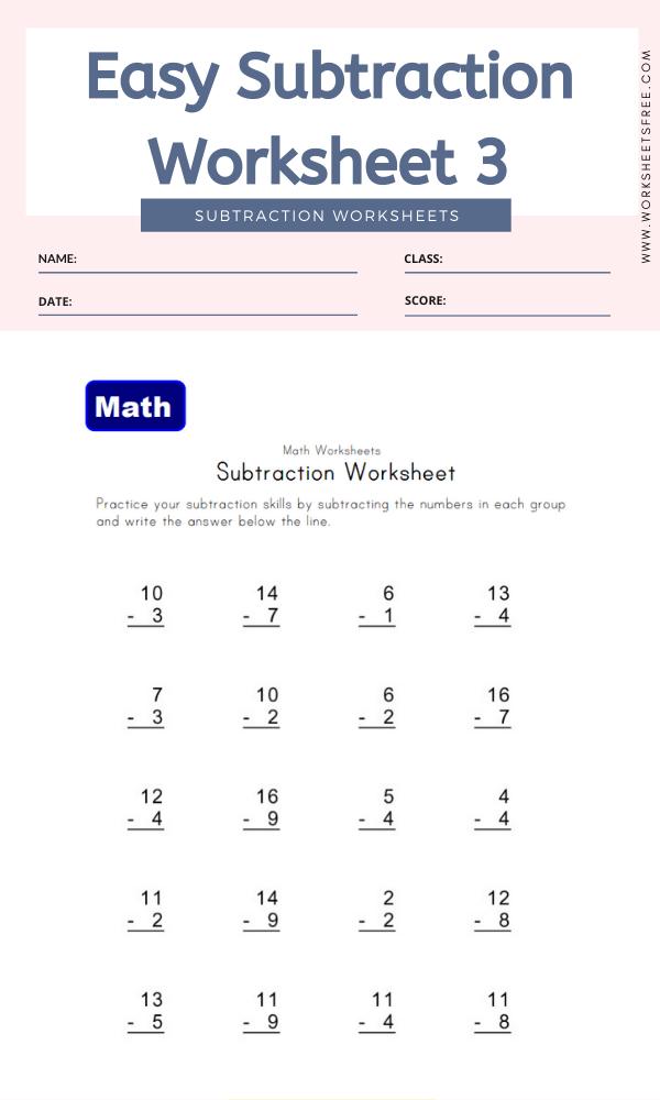 Easy Subtraction Worksheet 3 - Math Worksheets
