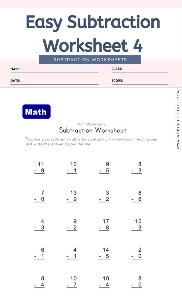Easy Subtraction Worksheet 4 - Math Worksheets