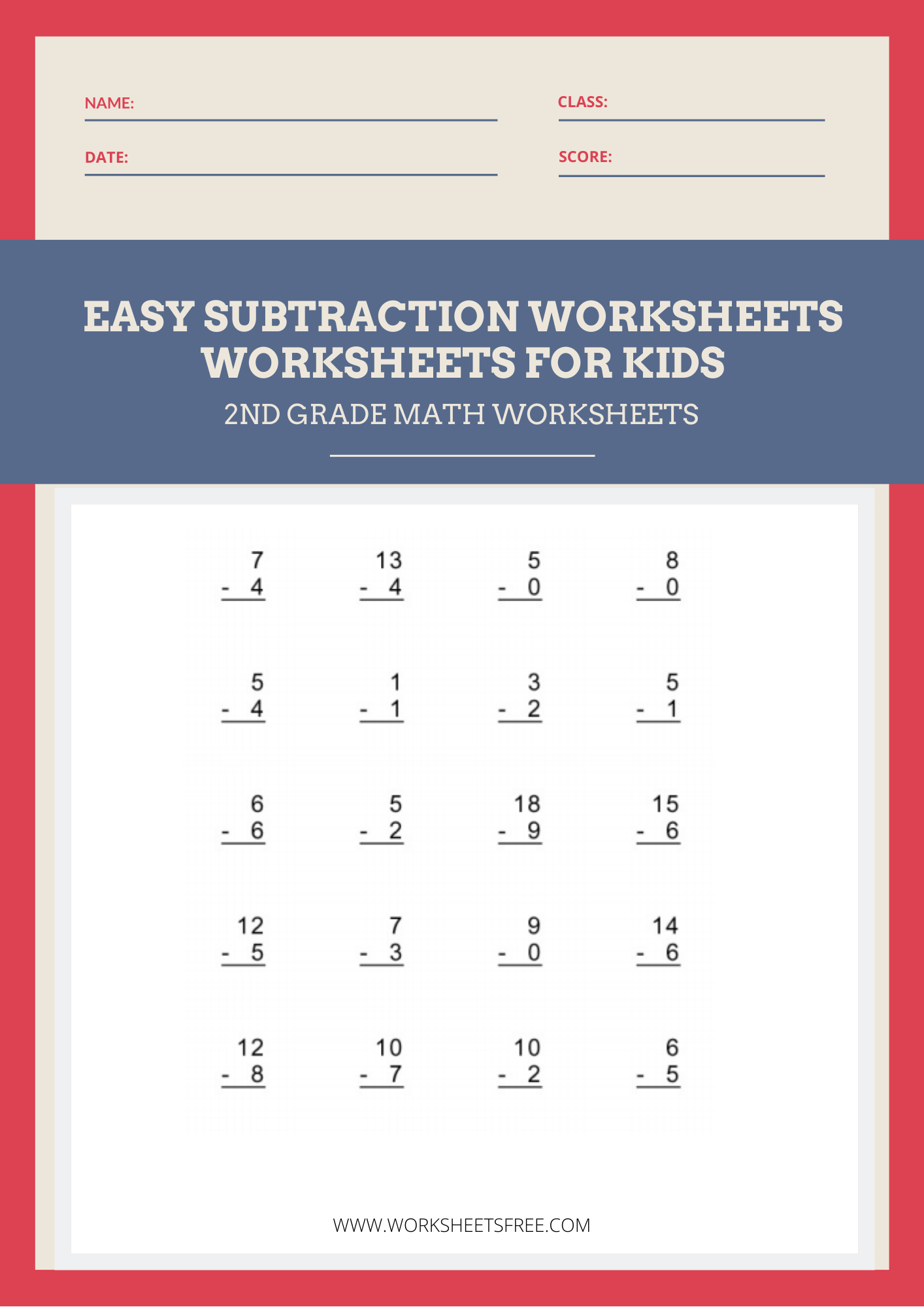 hight resolution of Easy-Subtraction-Worksheets   Worksheets Free