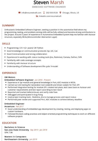 Embedded Software Engineer Resume Sample 1