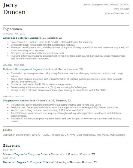 Embedded Software Engineer Resume Sample 4