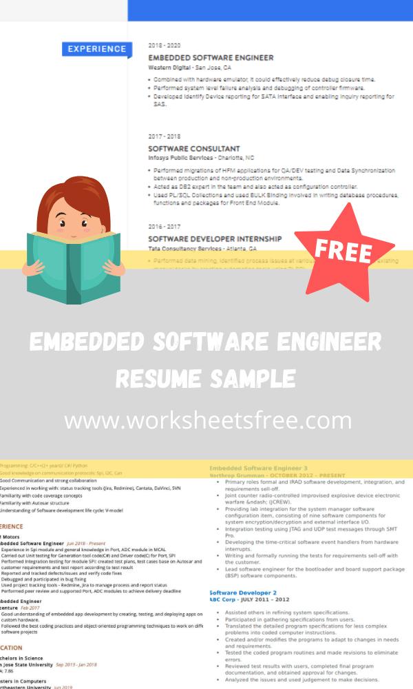 Embedded Software Engineer Resume Sample