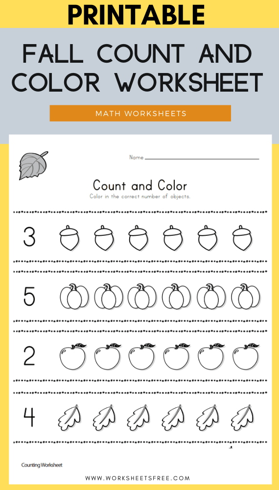 Fall Count and Color Worksheet
