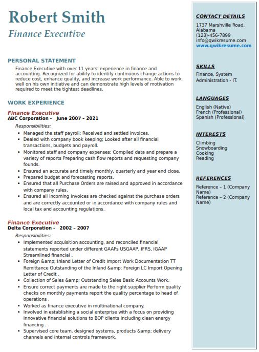 Finance Executive Resume Sample 5