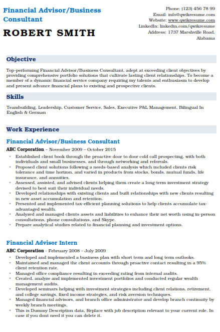 Finance & Investment Professional Resume Example 5
