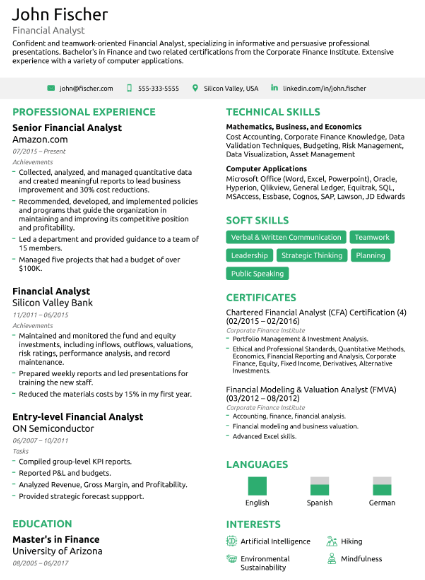 Financial Analyst Resume Example 2