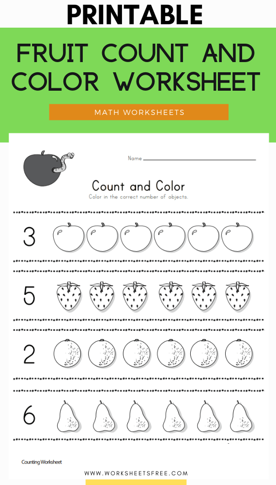 Fruit Count and Color Worksheet
