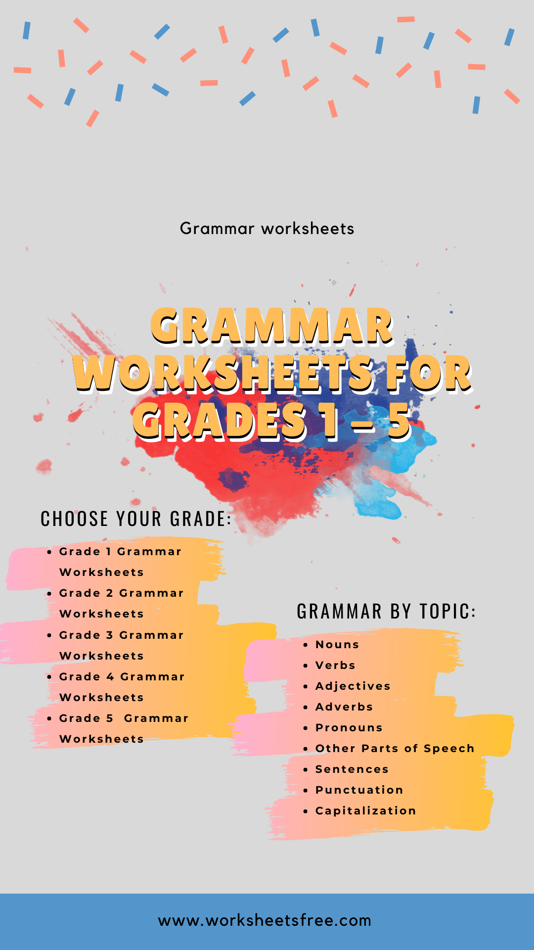 Grammar worksheets for grades 1 – 5 : Grammar Worksheets   Worksheets Free [ 1920 x 1080 Pixel ]
