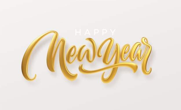 Happy new year. realistic golden metal lettering isolated on white background. Premium Vector