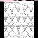 Ice Cream Missing Numbers 1-20 Worksheet for Kindergarten