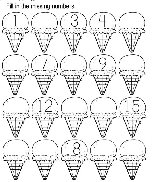 Ice Cream Missing Numbers 1-20 Worksheet for Kindergarten
