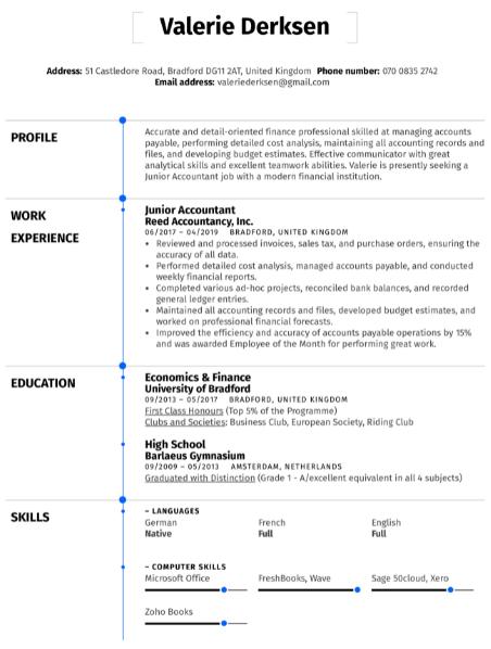 Junior Accountant Resume Sample 1