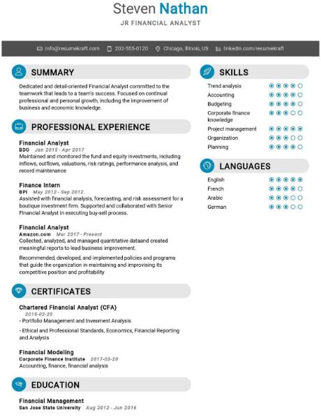 Junior Financial Analyst Resume 2