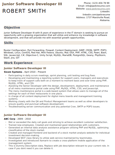 Junior Software Developer Resume Sample 3