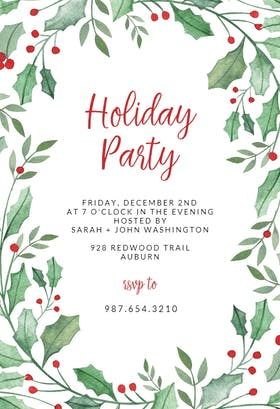 Leaf & Holly Border - Christmas Invitation