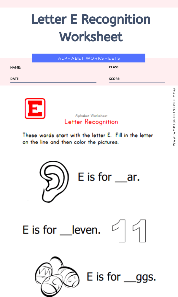 Letter E Recognition Worksheet