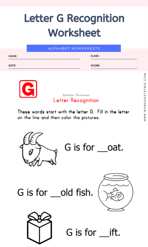 Letter G Recognition Worksheet