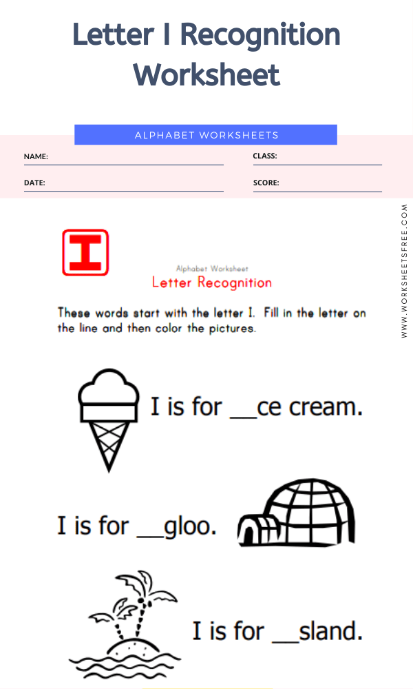 Letter I Recognition Worksheet
