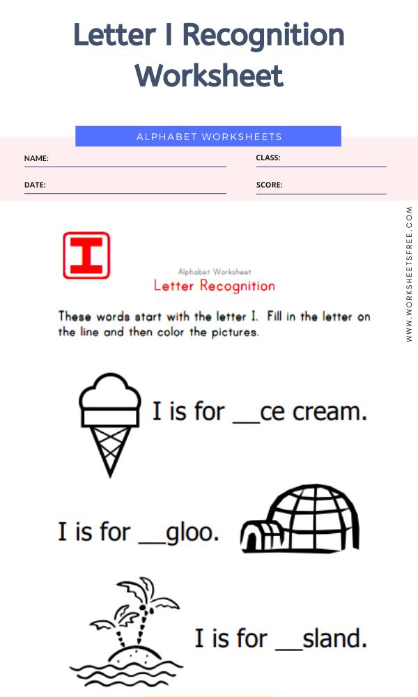 Letter I Recognition Worksheet