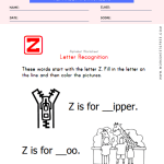 Letter Z Recognition Worksheet