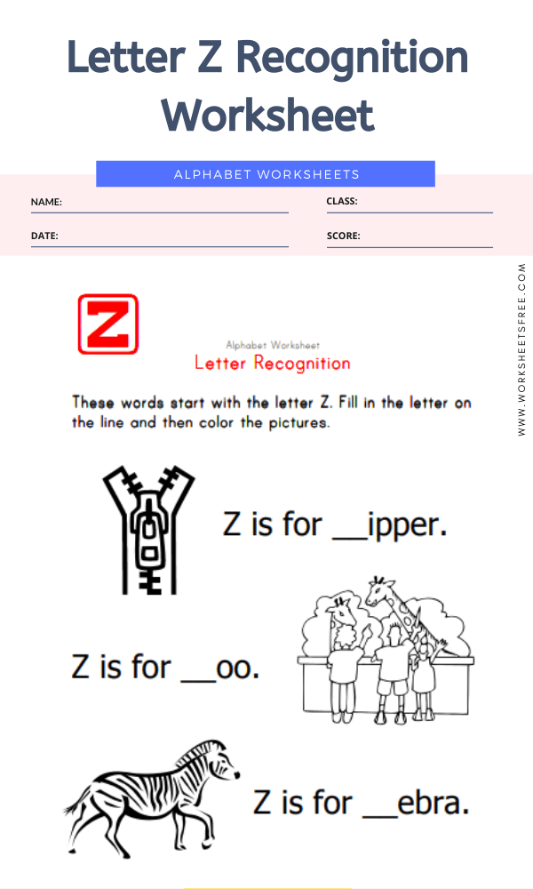 Letter Z Recognition Worksheet
