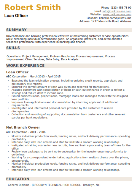 Loan Manager Resume Sample 1
