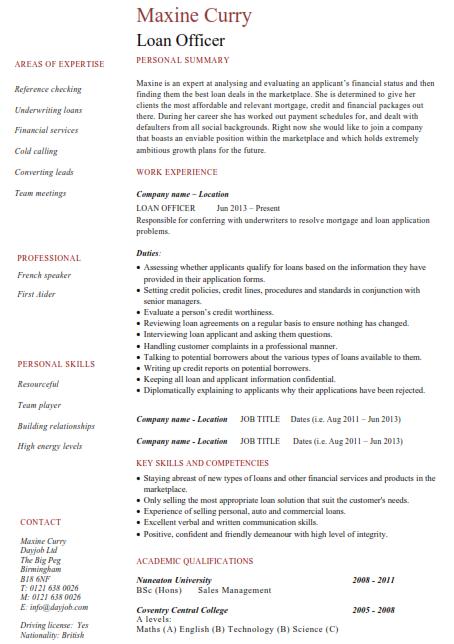Loan Manager Resume Sample 4