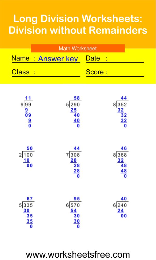Long Division Worksheets-Division without Remainders 2