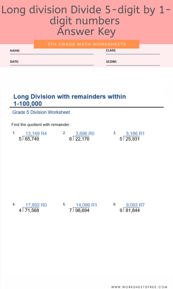 Long division Divide 5-digit by 1-digit numbers (with remainders) For Grade 5 with Answer Key