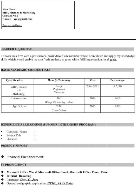 MBA Finance Resume Sample 2