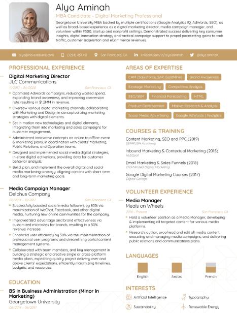 MBA Finance Resume Sample 3