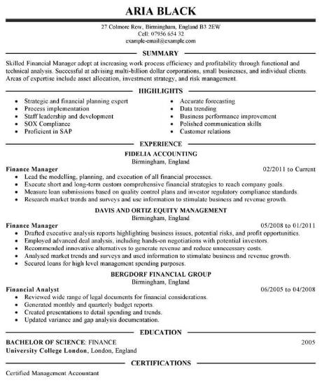 MBA Finance Resume Sample 4
