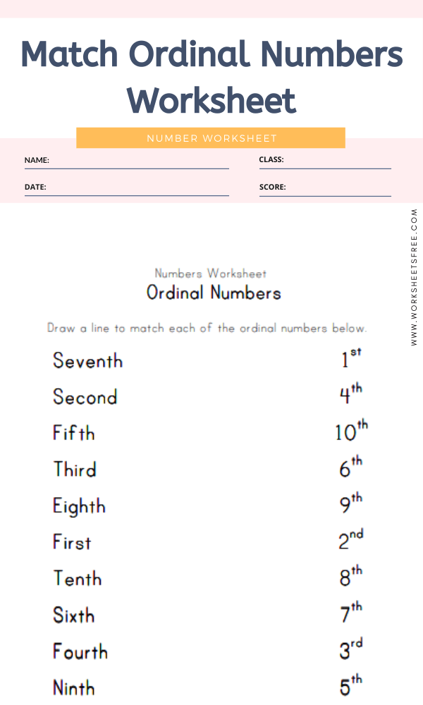 Match Ordinal Numbers Worksheet