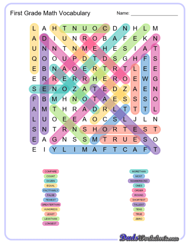 Math Word Search Puzzles worksheets