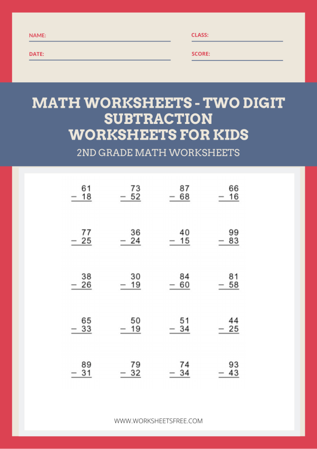 Math Worksheets - Two Digit Subtraction Learn Subtraction Worksheet 1