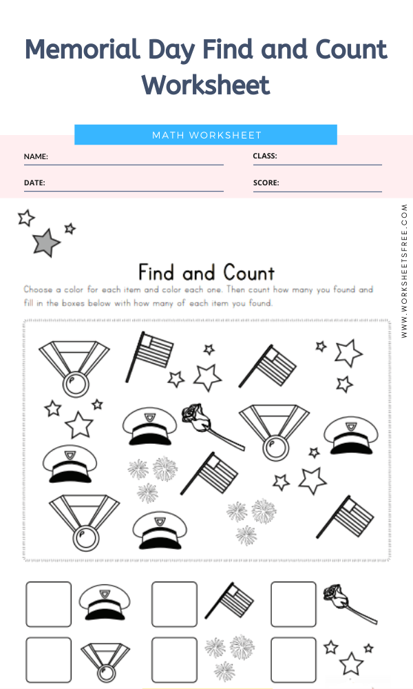 Memorial Day Find and Count Worksheet