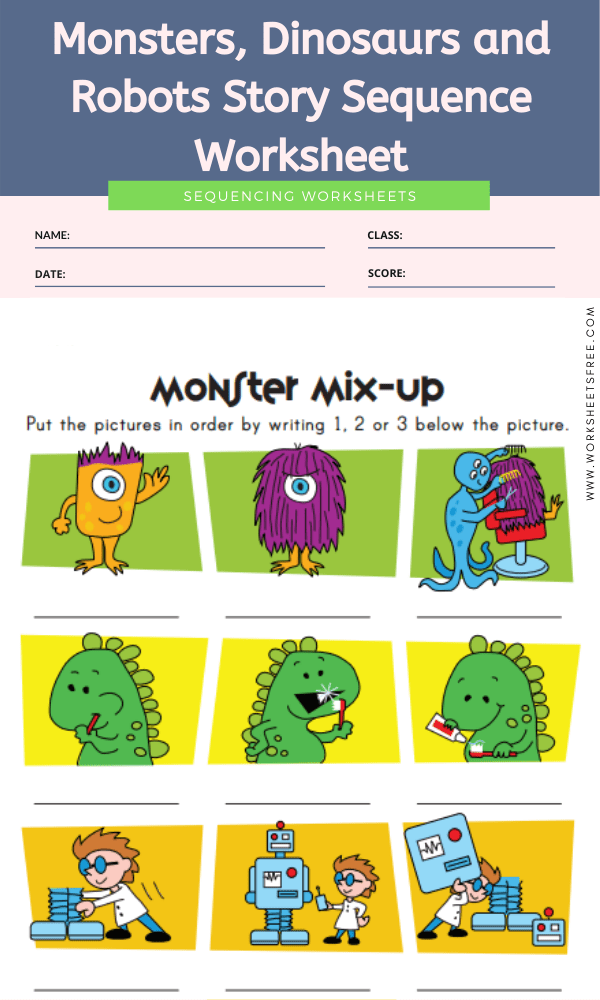 Monsters, Dinosaurs and Robots Story Sequence Worksheet