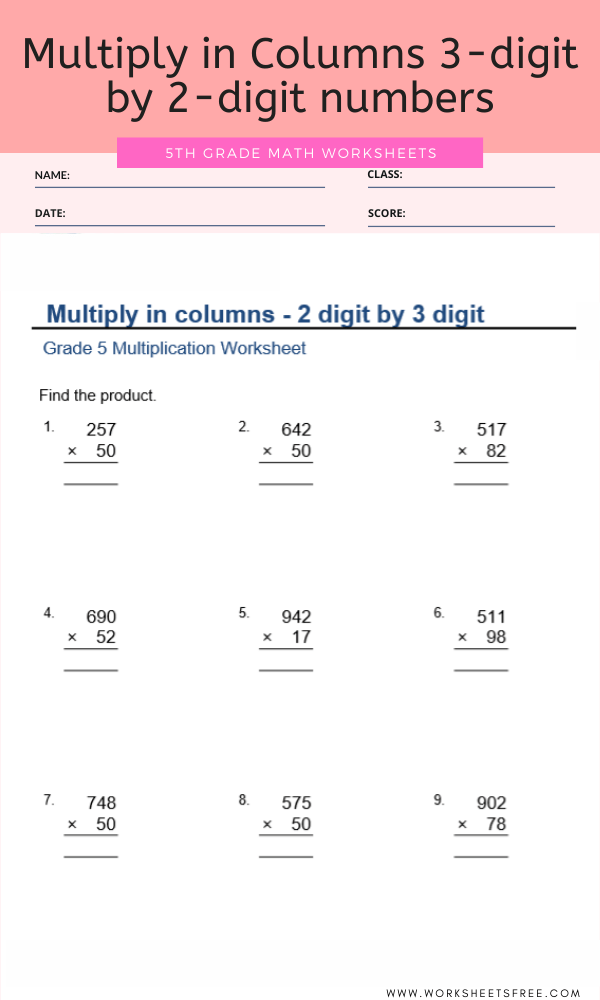Multiply in Columns 3-digit by 2-digit numbers for Grade 5
