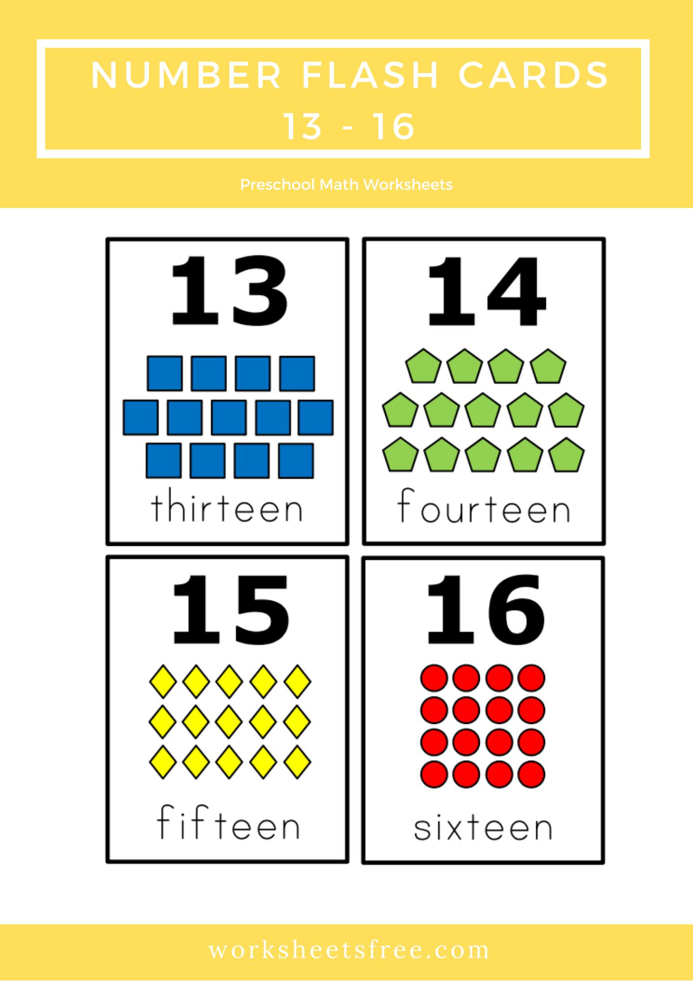 Number Flash Cards 13 16